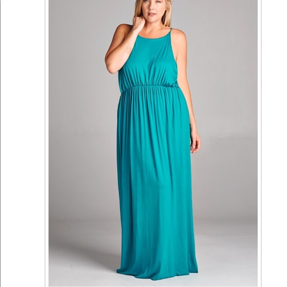 Teal Turquoise Green Plus Size Stretch Maxi Dress NWT